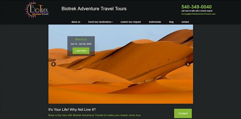 Biotrek Adventure Travels - Website design, development, build, maintenance, and hosting by Talk19 Media & Marketing company in Warrenton, Fauquier County, Northern Virginia