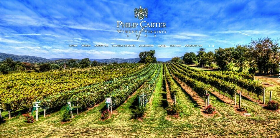 Philip Carter Winery - Website design, development, build, maintenance, and hosting by Talk19 Media & Marketing company in Warrenton, Fauquier County, Northern Virginia