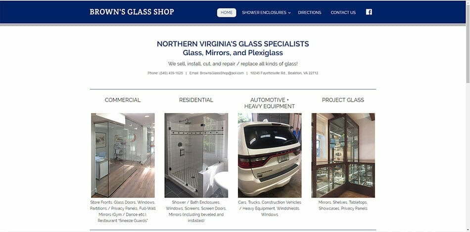 Brown's Glass Shop Bealeton Fauquier Virginia auto home commercial residential window shower enclosure