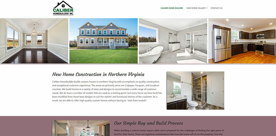 Caliber Homebuilder Inc. New Home Construction in Northern Virginia, Website Developed by Talk19 Media Marketing