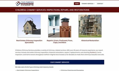 Childress Chimneys, Inspections, Repairs, Restorations Website Developed by Talk19 Media Marketing