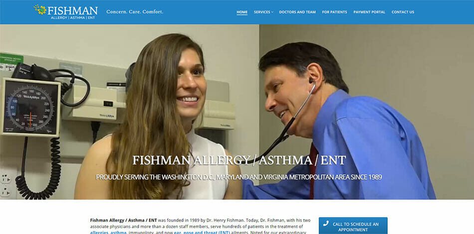 Fishman Allergy Asthma ENT Website Developed by Talk19 Media Marketing