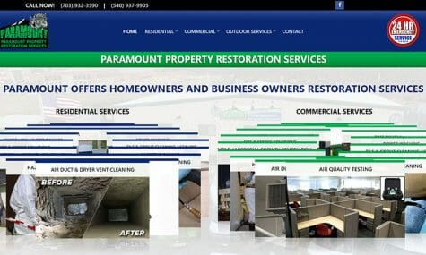 Paramount Property Restoration Services Website Developed by Talk19 Media Marketing