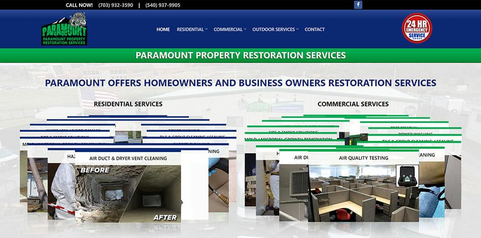 Paramount Property Restoration Services Website Developed by Talk19 Media Marketing