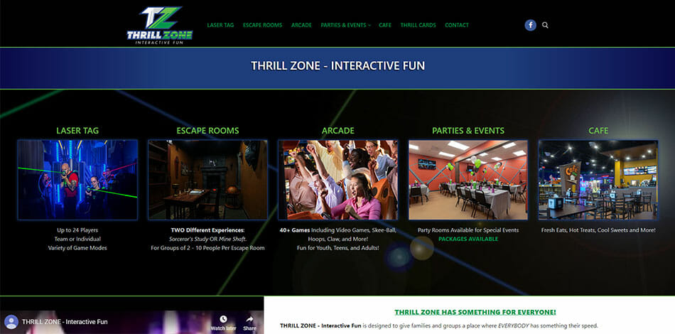 Thrill Zone Interactive Fun - offers indoor sport and recreation experiences including arcade, laser tag, escape room, party, event, and cafe.