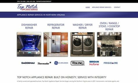 Top Notch Appliance Service Website Developed by Talk19 Media Marketing