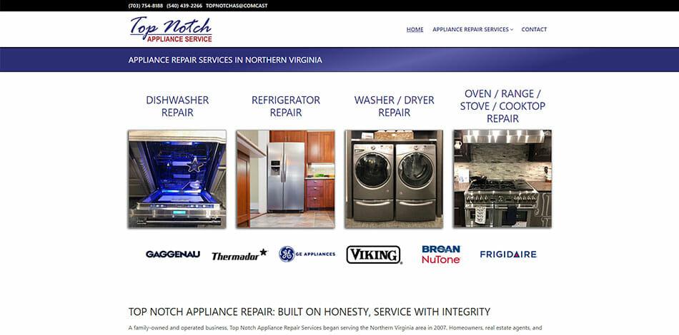 Top Notch Appliance Service Website Developed by Talk19 Media Marketing