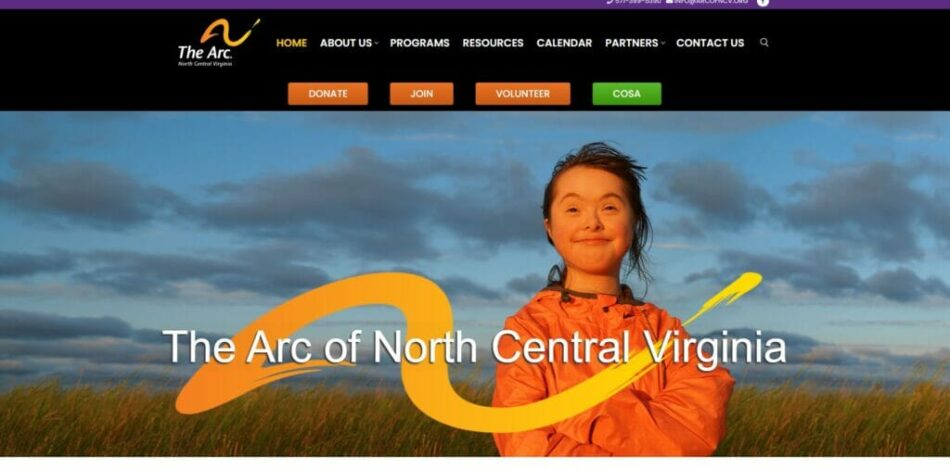 The Arc of North Central Virginia - Website design, development, build, maintenance, and hosting by Talk19 Media & Marketing company in Warrenton, Fauquier County, Northern Virginia